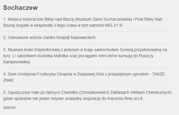 Zgłoszenie Sochaczewa do Faktów z Twojego Miasta /RMF FM