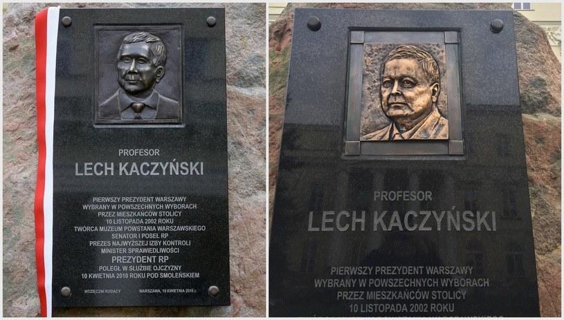 Zmieniono wizerunek Lecha Kaczyńskiego na pomniku /RMF FM