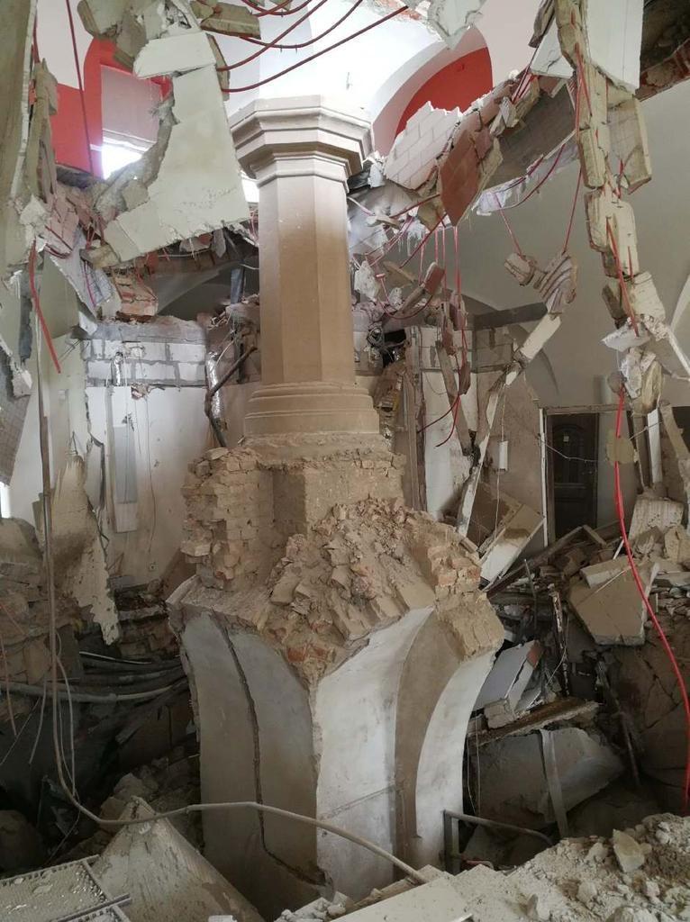 Zniszczony strop /PSP
