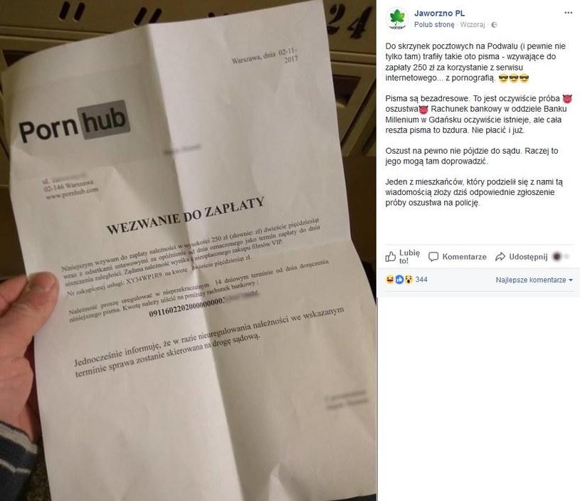 Zrzut ekranu przedstawiający facebookowy post Jaworzno PL z fałszywym wezwaniem do zapłaty (dane osobowe zostały zamazane przez redakcję) /Internet