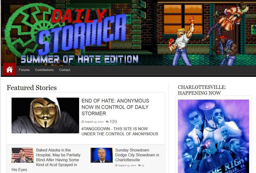 Zrzut ekranu ze strony Daily Stormer, po rzekomym przejęciu kontroli przez Anonimowych /Internet