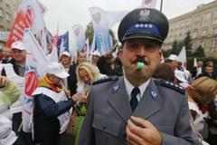 Związkowe protesty w stolicy