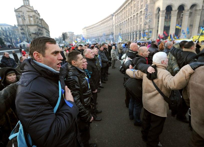 Zwolennicy integracji Ukrainy z UE w Kijowie /AFP