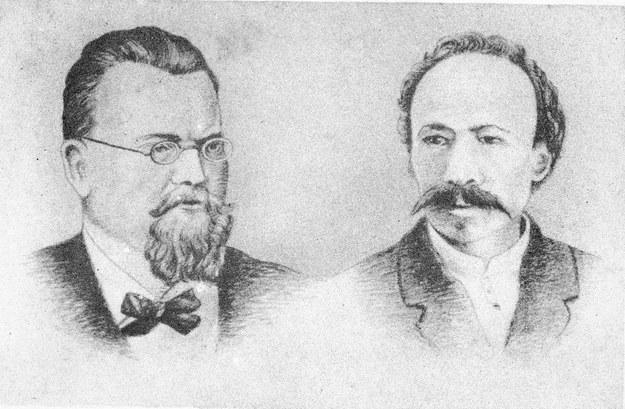 Zygmunt Wroblewski (1845-1886) i Karol Olszewski (1846-1916) - polscy naukowcy, którzy pierwsi w świecie dokonali skroplenia powietrza. Reprodukcja: FoKa /Agencja FORUM