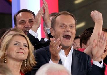 Euforia w sztabie wyborczym PO