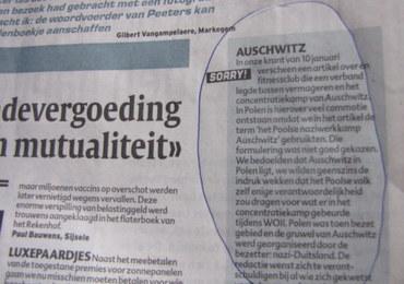 """Belgijska gazeta przeprasza za """"polski obóz pracy Auschwitz"""""""
