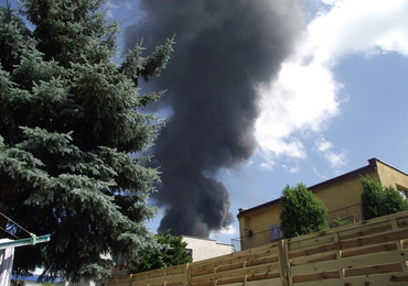Pożar magazynów w Lubaniu