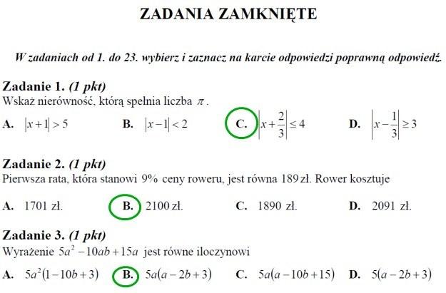 matura matematyka 2011 klucz