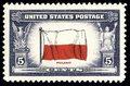 22 czerwca 1943 r. Amerykański znaczek pocztowy z polską flagą