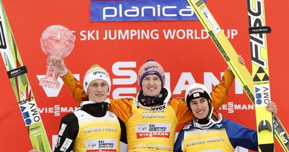 Kamil Stoch zajął piąte miejsce w konkursie Pucharu Świata w Planicy. Zwycięstwo odniósł Słoweniec Jurij Tepes. Kryształowa Kula powędrowała do Niemca Severina Freunda.