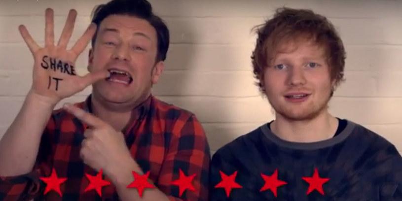 """Ed Sheeran, Paul McCartney oraz Hugh Jackman postanowili wspomóc znanego z programów kuliarnych Jamiego Olivera i zaśpiewali wspólnie z nim utwór """"#FoodRevolutionDay""""."""