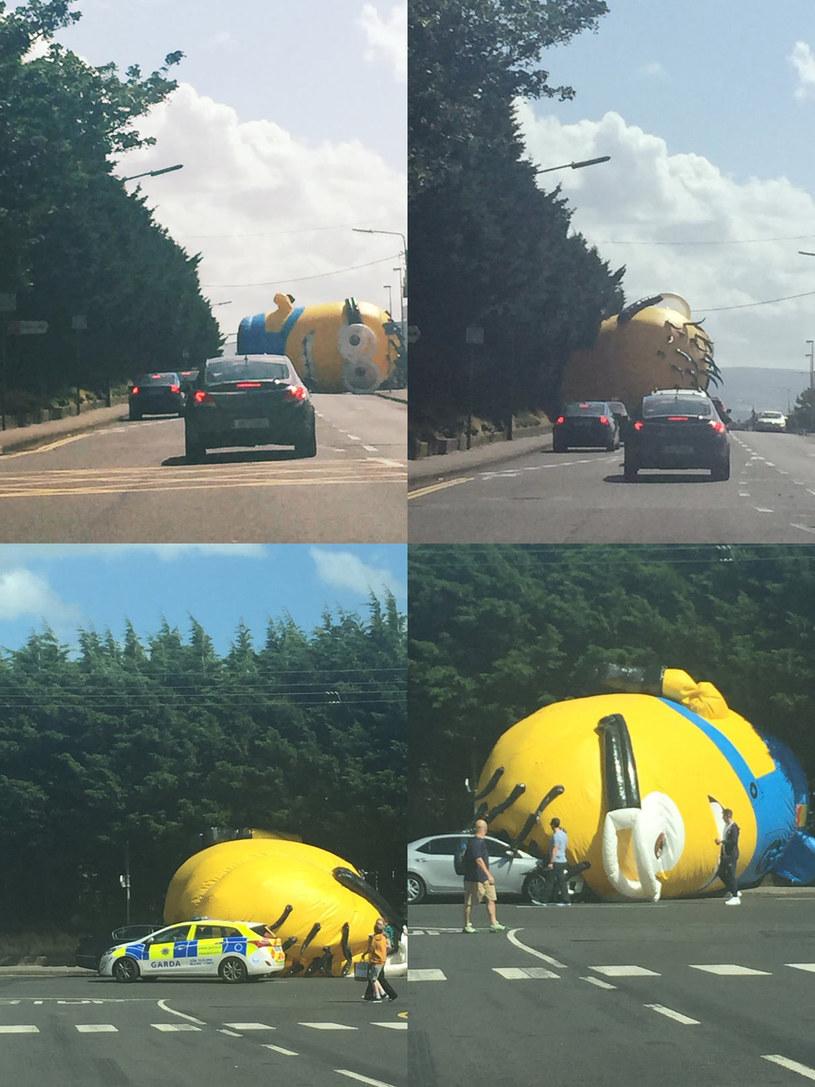Ogromny dmuchany Minionek przestraszył kierowców na północy Dublina. Silny wiatr sprawił, że reklamowy balon w kształcie animowanego bohatera wtargnął na jezdnię w dzielnicy Santry, blokując drogę.