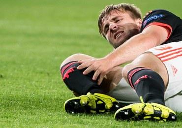 Liga Mistrzów. Obrońca Manchesteru United złamał nogę w dwóch miejscach