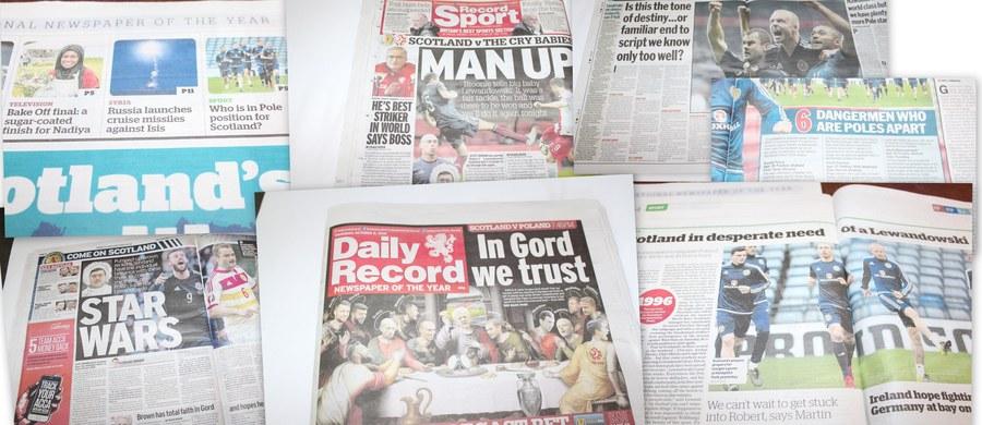 Mnóstwo miejsca poświęcają szkockie gazety wieczornemu meczowi z Polską w ramach eliminacji piłkarskich mistrzostw Europy. Dla gospodarzy to ostatnia szansa włączenia się do gry o awans, więc miejscowa prasa nie przebiera w środkach, by ich wspomóc.