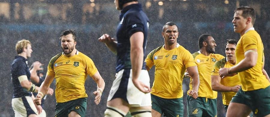 """Szkocja nie obroniła honoru europejskiego rugby. Po porażce """"Walecznych Serc"""" z Australią 34:35 wiemy już, że w półfinałach nie zagra ani jedna drużyna z Europy. To się jeszcze w historii Pucharu Świata nie zdarzyło. O medale oprócz Australii powalczą: Nowa Zelandia, RPA i Argentyna."""