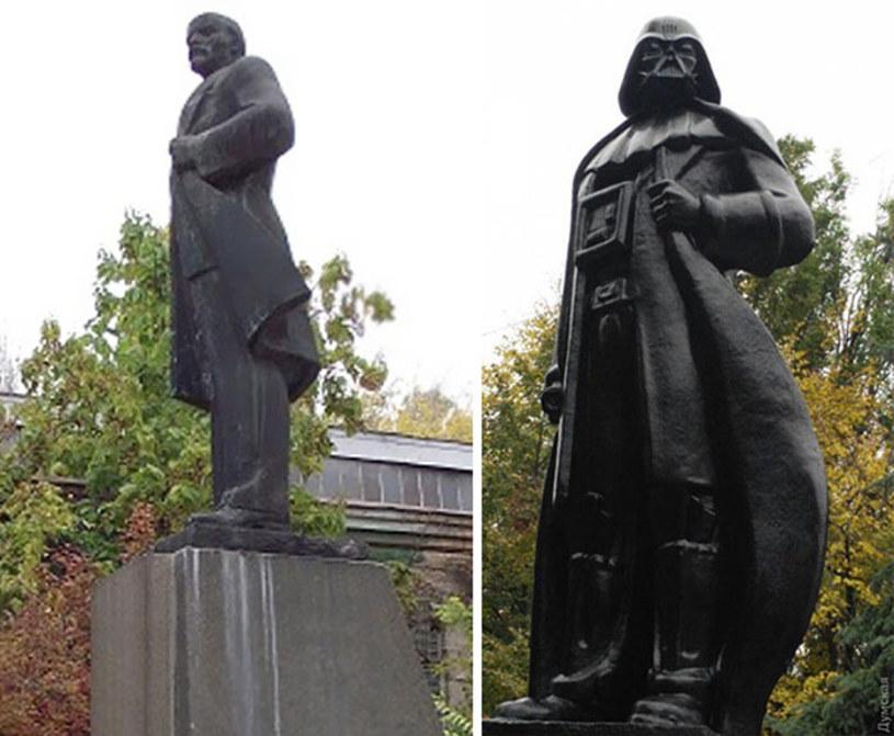 """Stojący w Odessie pomnik Włodzimierza Lenina został przerobiony przez artystę Ołeksandra Miłówa na statuę Dartha Vadera. Według artysty to pierwszy na świecie posąg mrocznego bohatera """"Gwiezdnych Wojen""""."""