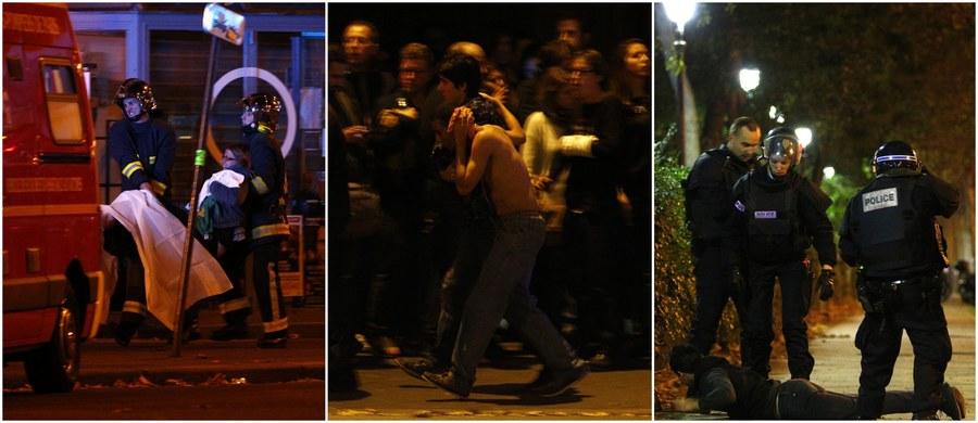 129 osób zginęła, a 350 zostało rannych w piątkowych zamachach w Paryżu. W czasie szturmu policji na salę koncertową Bataclan w Paryżu zabito trzech zamachowców. Do zamachów terrorystycznych doszło w kilku różnych miejscach Paryża, m.in. w pobliżu stadionu, na którym odbył się mecz Francja - Niemcy. W mediach społecznościowych pojawiły się filmy nagrane przez świadków wydarzeń.