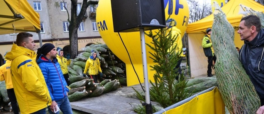 """Tysiąc pachnących drzewek w ramach naszej akcji """"Choinki pod choinkę"""" od RMF FM rozdaliśmy w sobotę w Łodzi. Drzewka można było odbierać od godziny 11 na Starym Rynku. W rozdawaniu choinek pomagał nam zespół Blue Cafe."""