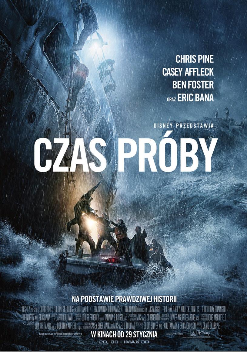 """""""Czas próby"""" to świetnie wyreżyserowany, trzymający w napięciu od początku do końca thriller, zainspirowany prawdziwą historią morskiej akcji ratowniczej u wschodnich wybrzeży USA. Wykorzystanie przy produkcji filmu najnowszych technologii IMAX®, daje widzom niepowtarzalną szansę przeniesienia się w sam środek heroicznej walki z żywiołem, zapewniając całą paletę niezapomnianych przeżyć. Przeżyj morską wyprawę w IMAX."""