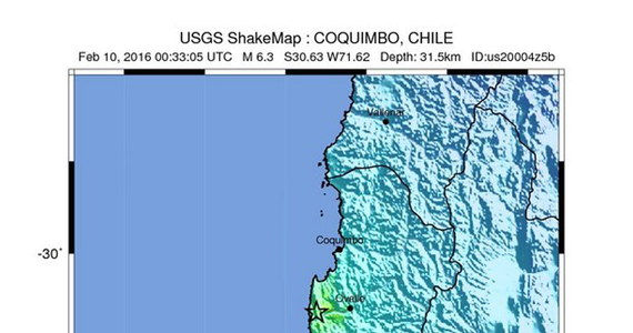 Do trzęsienia ziemi o sile 6,3 w skali Richtera doszło w środkowej części Chile – poinformowały amerykańskie służby sejsmologiczne. Epicentrum znajdowało się na chilijskim wybrzeżu Oceanu Spokojnego, 98 km na południe od miasta Coquimbo.