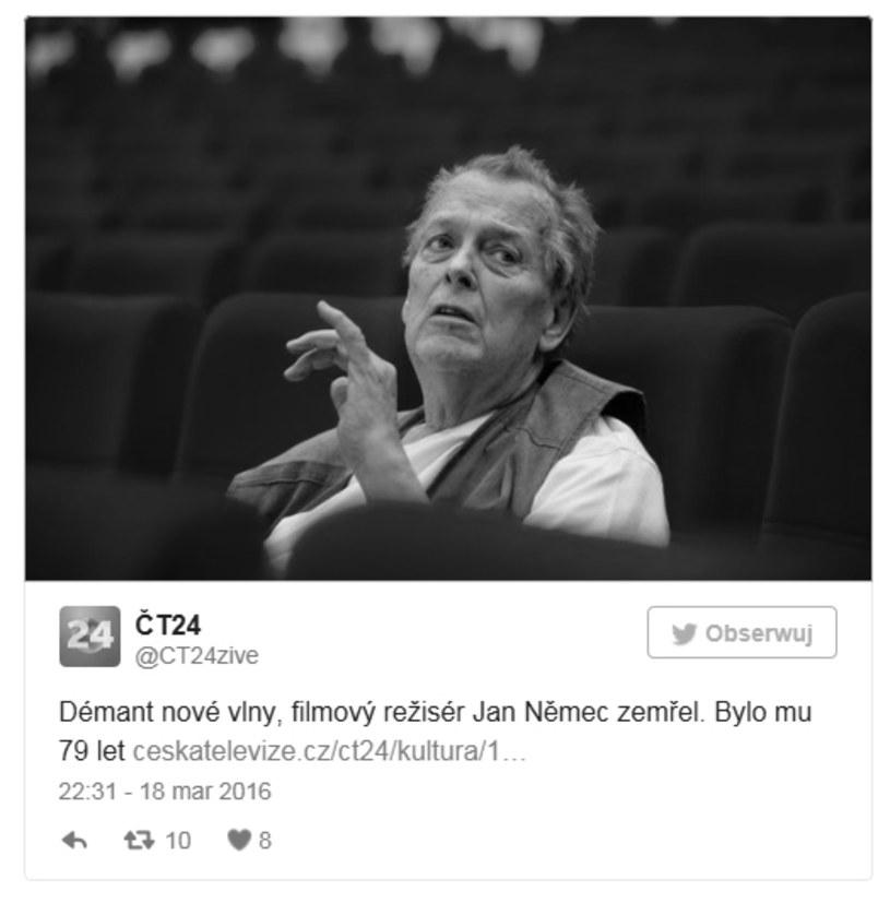 """Zmarł Jan Nemec, reżyser filmowy, producent, scenarzysta, operator, aktor i kompozytor, będący jednym ze współtwórców """"nowej fali"""" w czeskim kinie w latach 60. XX wieku. Miał 79 lat."""