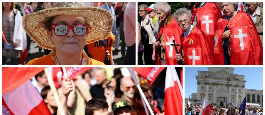"""Marsz KOD i opozycji, Parada Schumana oraz pochód środowisk narodowo-katolickich przeszły w sobotę ulicami Warszawy w związku z przypadającym 9 maja """"Dniem Europy"""". Według policji przebiegły one spokojnie i obyło się bez incydentów."""