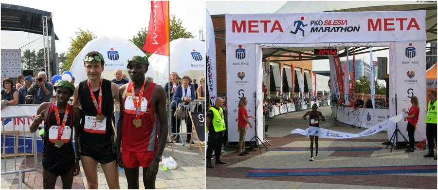 Kenijczyk Joel Maina Mwangi wygrał 8. edycję Silesia Marathonu! A przy okazji znokautował konkurentów, ustanawiając nowy rekord imprezy: 2 godziny, 24 minuty i 51 sekund. Wśród kobiet najlepszy czas uzyskała jego rodaczka Betty Chepleting. Na starcie tego jedynego w Polsce i Europie maratonu prowadzącego ulicami trzech miast - Katowic, Siemianowic Śląskich i Mysłowic - stanęło kilka tysięcy zawodników z prawie 30 krajów świata!