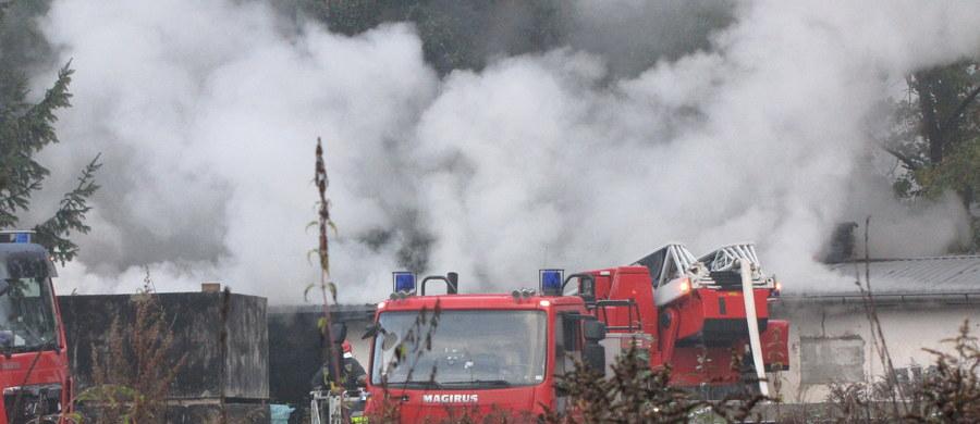Duże zadymienie i parterowa konstrukcja zakładu produkującego znicze we Wrocławiu utrudniają akcję strażaków. Przy ulicy Lutyńskiej płonie blisko 100-metrowa hala. Z ogniem walczy piętnaście jednostek straży pożarnej. Z budynku mieszkalnego, przylegającego do zakładu ewakuowano dwie osoby. Nikt nie ucierpiał.