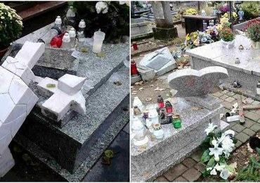 Zdewastowany cmentarz w Ełku. Straty to kilkaset tysięcy złotych