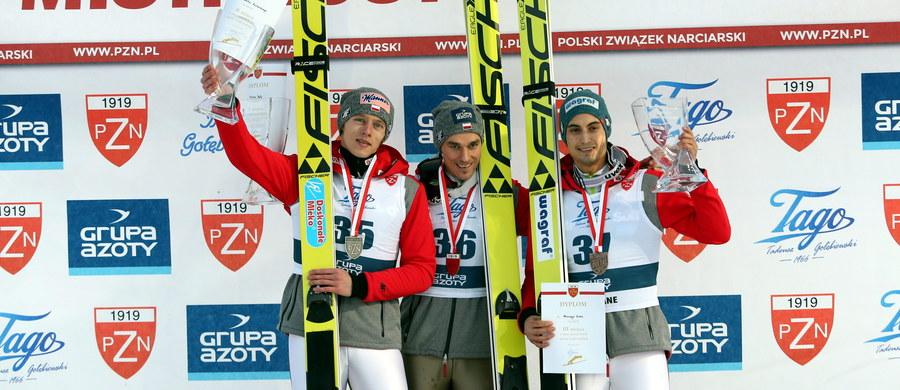 Piotr Żyła zdobył w poniedziałek w Zakopanem tytuł mistrza Polski w skokach narciarskich, drugi był Dawid Kubacki, a trzeci Maciej Kot. Kamil Stoch nie wystartował z powodu przeziębienia.