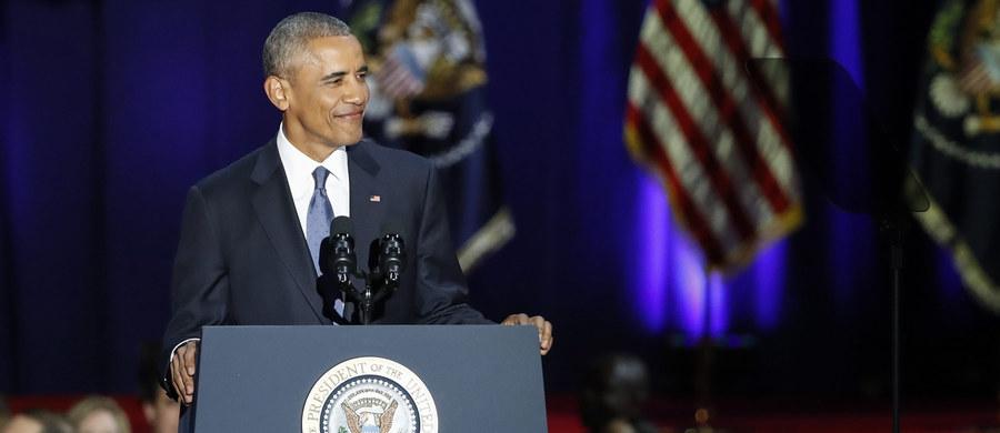 """Ustępujący prezydent Barack Obama w swym pożegnalnym wystąpieniu wygłoszonym wieczorem w Chicago oświadczył, że Ameryka jest """"pod prawie każdym względem lepsza i silniejsza"""" niż była 8 lat temu gdy obejmował urząd. Wezwał też Amerykanów, aby zawsze bronili demokracji."""