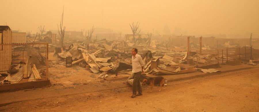 """Co najmniej 10 ofiar śmiertelnych, spalone ponad 290 tysięcy hektarów oraz dziesiątki osad i małych miejscowości - to tragiczny bilans pożarów lasów szalejących od ponad tygodnia w Chile. Prezydent Michelle Bachelet określiła je mianem """"najgorszej tego rodzaju katastrofy"""" w historii kraju."""