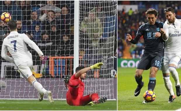 """Real Madryt umocnił się na pozycji lidera hiszpańskiej ekstraklasy. """"Królewscy"""" pokonali u siebie Real Sociedad 3:0, podczas gdy ich bezpośredni rywale w 20. kolejce La Liga pogubili punkty. W efekcie Real ma już cztery punkty przewagi nad Barceloną i Sevillą, a w zapasie zaległy mecz."""