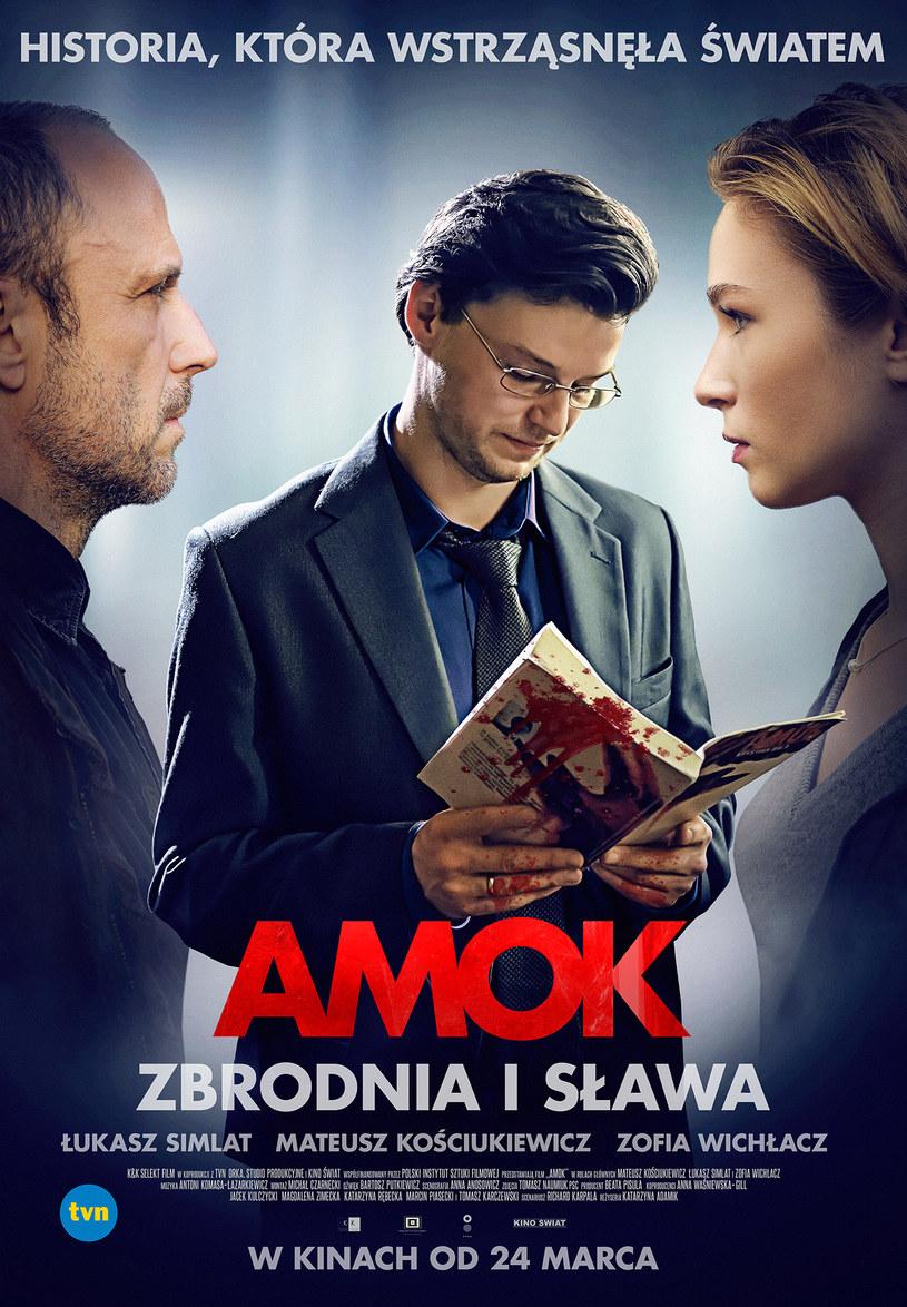 """""""Historia, która wstrząsnęła światem"""" - takim hasłem opatrzony został plakat thrillera """"Amok"""". Film na podstawie polskiego procesu poszlakowego, którym żyły media na całym świecie – trafi na ekrany kin 24 marca."""
