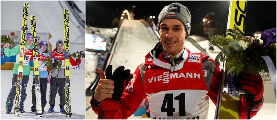 Piotr Żyła wywalczył brązowy medal MŚ w Lahti! To jego największy sukces w karierze. W serii finałowej konkursu na dużej skoczni Żyła lądował najdalej - na 131. metrze - i z szóstej lokaty, którą zajmował na półmetku rywalizacji, wskoczył na podium! Triumfował, podobnie jak na normalnym obiekcie, Austriak Stefan Kraft, zostając tym samym piątym skoczkiem w historii, który wygrał na MŚ dwa indywidualne konkursy. Ze srebrem - już drugim - wróci zaś do domu Niemiec Andreas Wellinger. Szóste miejsce zajął Maciej Kot, tuż za nim uplasował się Kamil Stoch, a ósmy był Dawid Kubacki. Drużynowo biało-czerwoni byli zdecydowanie najlepsi!