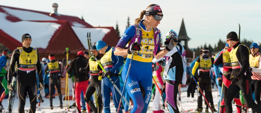 """Justyna Kowalczyk, która zwyciężyła wśród kobiet w 41. Biegu Piastów na dystansie 50 km, wyraziła radość z udziału w tej imprezie. """"Ja tu jeszcze wrócę"""" - zapowiedziała."""