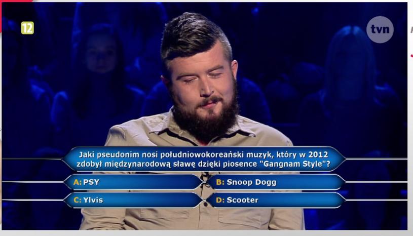 """Z gwarantowanymi 40 tys. zł program """"Milionerzy"""" opuścił Daniel Kaczmarski, który po drodze odpowiedział m.in. na pytanie o autora przeboju """"Gangnam Style""""."""