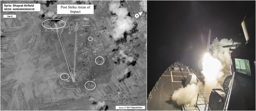 """Stany Zjednoczone zaatakowały w piątek nad ranem bazę lotniczą syryjskich wojsk rządowych w pobliżu miasta Hims w Syrii: z dwóch amerykańskich niszczycieli na Morzu Śródziemnym wystrzelonych zostało 59 pocisków manewrujących Tomahawk. Był to zarządzony przez prezydenta Donalda Trumpa odwet za dokonany z tej bazy trzy dni wcześniej atak bronią chemiczną na miasto Chan Szajchun w prowincji Idlib. Użyty gaz zabił tam 86 ludzi, w tym 30 dzieci. Dokładna liczba ofiar amerykańskiego ataku nie jest jeszcze znana. Komentując tę operację, rosyjski premier Dmitrij Miedwiediew napisał o """"całkowicie zrujnowanych relacjach"""" i stwierdził, że to działanie """"na krawędzi starć zbrojnych z Rosją"""". Waszyngton tymczasem zagroził kolejnymi działaniami militarnymi w Syrii."""