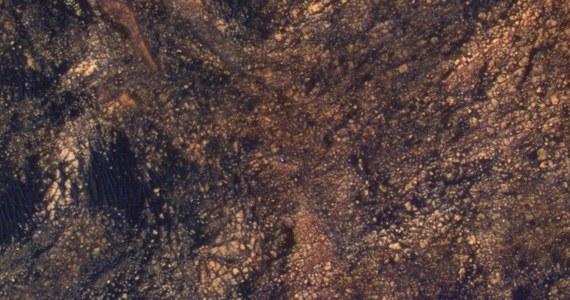 NASA wykorzystała najlepszy dostępny na orbicie Marsa sprzęt, kamerę HiRISE (High Resolution Imaging Science Experiment), zainstalowaną na sondzie Mars Reconnaissance Orbiter, by sfotografować jeden ze swoich marsjańskich łazików. Na opublikowanym właśnie zdjęciu widać pojazd Curiosity, pokonujący trudny teren w rejonie Mount Sharp. Łazik odróżnia się od ciemnoburego terenu Czerwonej Planety dzięki zwiększeniu poziomu nasycenia barw zdjęcia. Tylko dlatego można go zauważyć.