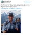 Psy ratownicze znalazły trop polskiego księdza, który zaginął w Alpach