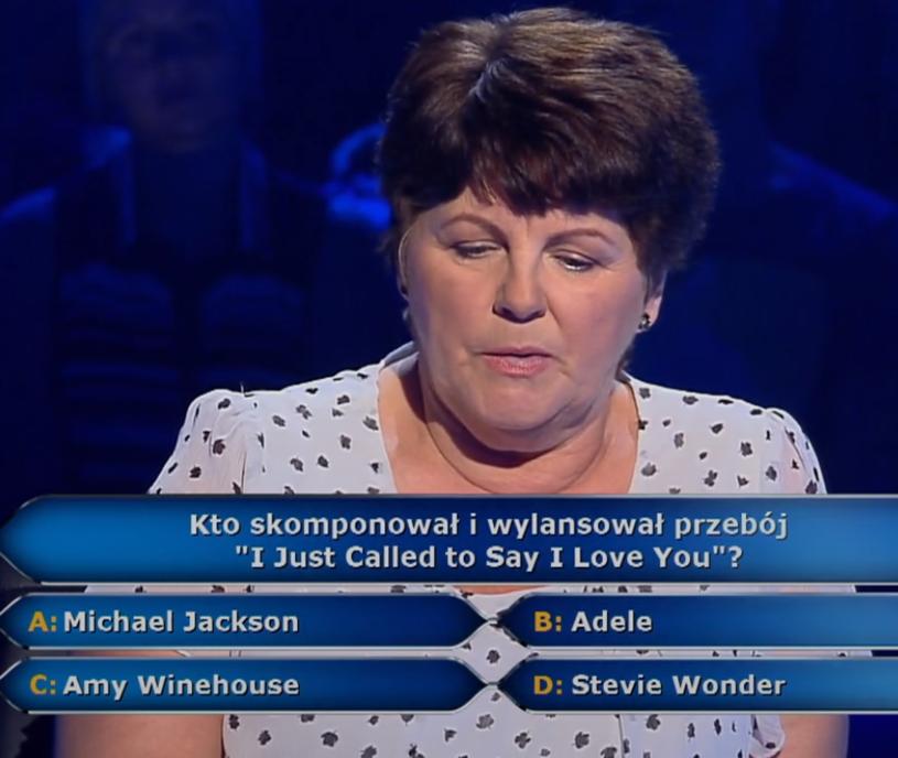 """75 tys. zł w """"Milionerach"""" wygrała Ewa Rzeźniczak. Wcześniej odpowiedziała na muzyczne pytanie warte 5 tys. zł."""
