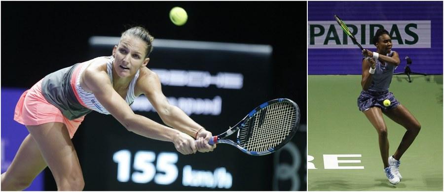 """Rozstawiona z numerem trzecim Karolina Pliskova pokonała rozstawioną z """"piątką"""" Venus Williams 6:2, 6:2 w pierwszym meczu grupy białej kończącego sezon tenisistek turnieju WTA Finals w Singapurze."""