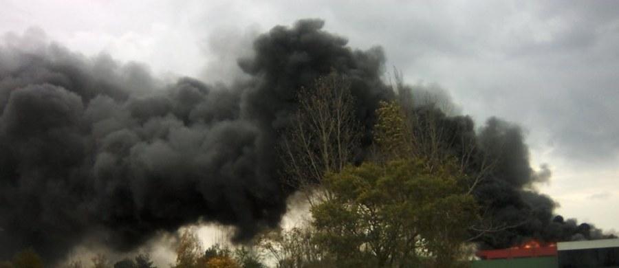 Kłęby czarnego dymu unoszą się nad Lubinem na Dolnym Śląsku. Strażacy dogaszają tam pożar hali z farbami i rozpuszczalnikami. Film i zdjęcia z miejsca zdarzenia dostaliśmy na Gorącą Linię RMF FM.
