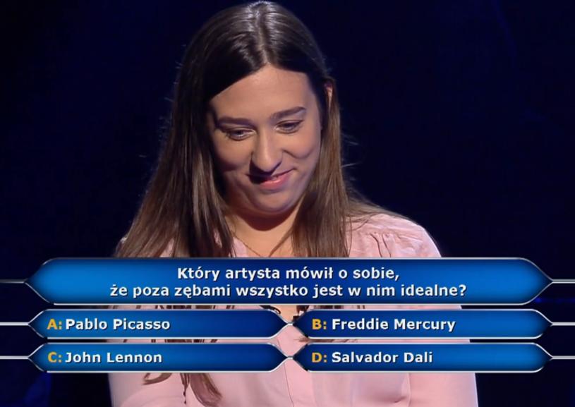 """Pytanie o zęby znanego artysty w """"Milionerach"""" warte było 125 tys. zł. Czy uczestniczka podjęła wyzwanie?"""