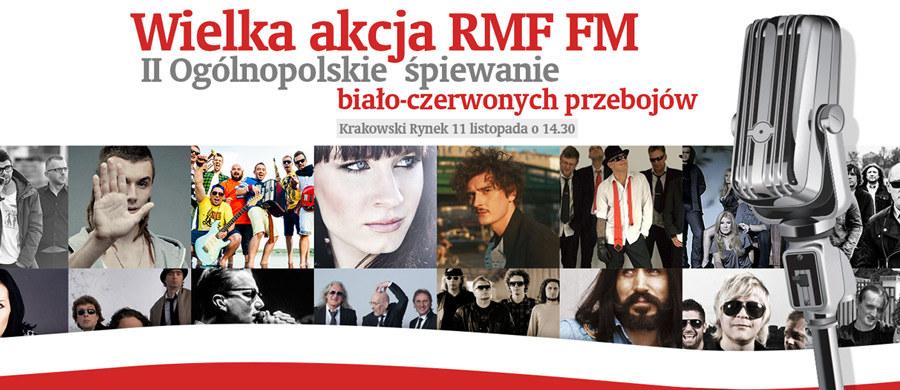 Już jutro - 11 listopada - spotykamy się na Rynku Głównym w Krakowie, by wspólnie z Wami zaśpiewać największe biało-czerwone przeboje. Chcemy w ten sposób muzycznie uczcić Święto Niepodległości. Razem z nami śpiewać będą gwiazdy polskiej estrady. Początek o godz. 14:30.