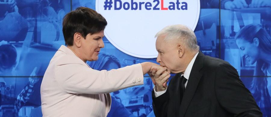 """""""Jesteśmy w stanie prowadzić politykę, która służy wielkiej części polskich rodzin, które przedtem z rozwoju gospodarczego w Polsce nie korzystały; mamy na to pieniądze"""" - powiedział prezes PiS Jarosław Kaczyński na wspólnej konferencji z premier Beatą Szydło. Tematem, było podsumowanie dwóch lat rządów PiS. Hasło spotkania? #Dobre2Lata. Jarosław Kaczyński podkreślił, że dwa lata temu przedstawiciele partii uznali, że """"w Polsce mamy do czynienia z wielkim zakresem różnego rodzaju nadużyć"""". """"Uznaliśmy, że choćby częściowe okiełznanie tego mechanizmu patologicznego, pozwoli na to, by podjąć skuteczną politykę społeczną, politykę, która będzie służyła tym grupom, które dotychczas ze zmian w Polsce skorzystały w niewielkim stopniu a niekiedy nie skorzystały w ogóle i ta diagnoza okazało się diagnozą prawdziwą"""" - dodał. Prezes PiS podziękował też szefowej rządu """"za dwa lata ciężkiej pracy"""". """"Wielkie dzięki""""- powiedział. Beata Szydło odpowiedziała: muszę złożyć podziękowanie na ręce Jarosława Kaczyńskiego za zaufanie, jakie otrzymałam. """"Chcę podziękować wszystkim członkom rządu, bo to ich ciężka praca pozwoliła zrealizować wiele deklaracji wyborczych""""."""