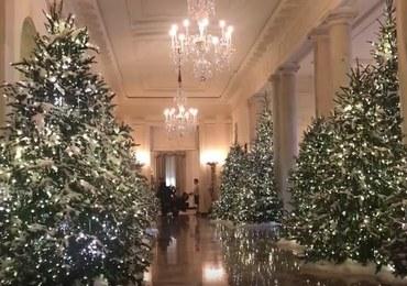 """Biały Dom gotowy na Boże Narodzenie. Największa """"ozdoba"""" jest w Pokoju Niebieskim"""