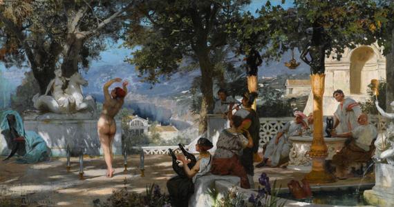 """Ministerstwo kultury poinformowało, że obraz """"Taniec wśród mieczów"""" Henryka Siemiradzkiego został wycofany z wtorkowej aukcji w Sotheby's. Licytacja należącego do niemieckiego prywatnego właściciela obrazu miała odbyć się w ramach aukcji szerszej kolekcji rosyjskich obrazów. Wystawiający podaje, że obraz nabyli jego rodzice ok. 1960 r."""
