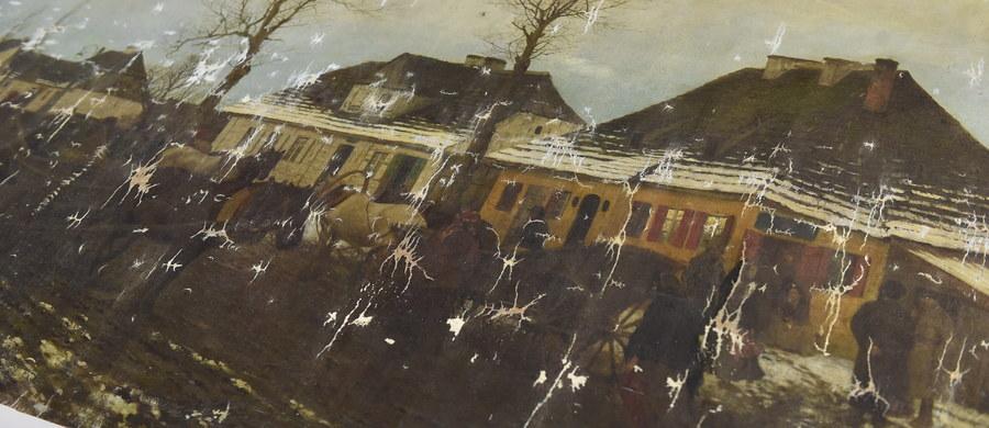 """W Krakowie w galerii Muzeum Narodowego zaprezentowano odnaleziony obraz Maksymiliana Gierymskiego """"Zima w małym miasteczku"""". Wróci on tam po konserwacji, która ma potrwać kilka miesięcy."""