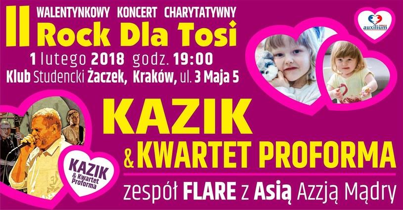 W czwartek 1 lutego w Klubie Żaczek w Krakowie odbędzie się II Walentynkowy Koncert Charytatywny Rock dla Tosi.